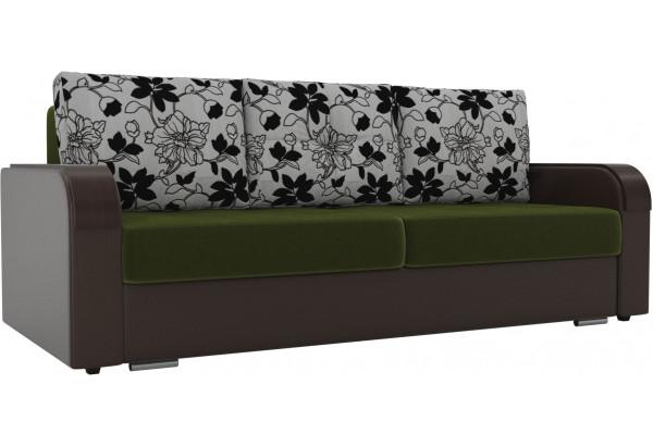Прямой диван Мейсон зеленый/коричневый (Микровельвет/Экокожа/флок на рогожке) - фото 1