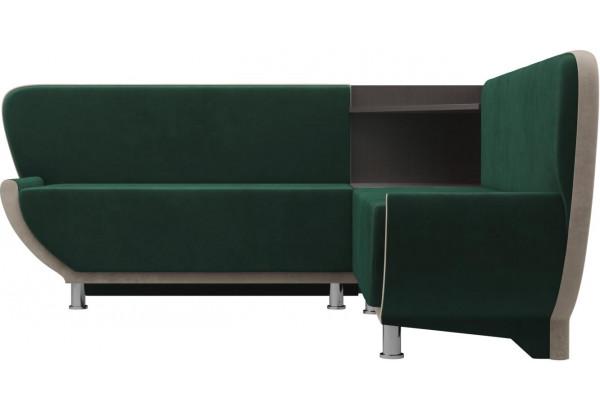 Кухонный угловой диван Лотос Зеленый/Бежевый (Велюр) - фото 2