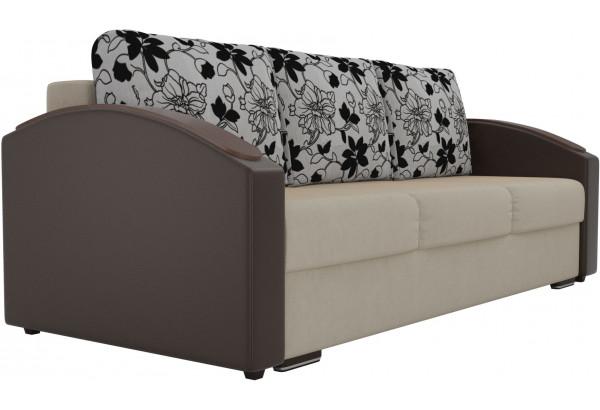 Прямой диван Монако slide бежевый/коричневый (Микровельвет/Экокожа/флок на рогожке) - фото 4
