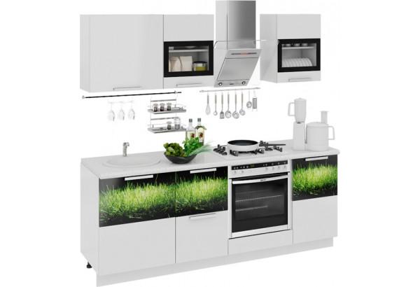 Кухонный гарнитур длиной - 210 см (со шкафом НБ) Фэнтези (Белый универс)/(Грасс) - фото 1