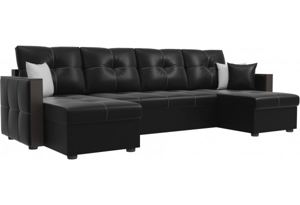 П-образный диван Валенсия Черный (Экокожа) - фото 1