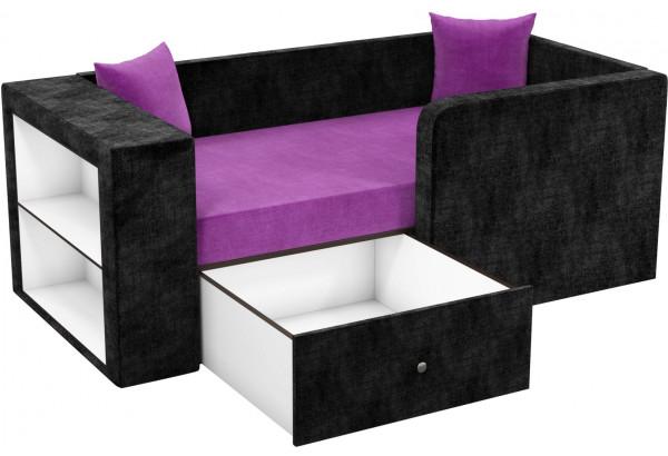 Детский диван Орнелла Фиолетовый/Черный (Микровельвет) - фото 2