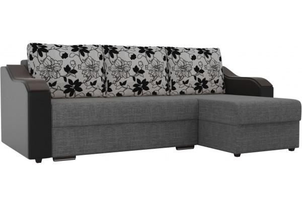 Угловой диван Монако Серый/Черный/Цветы (Рогожка/Экокожа) - фото 1