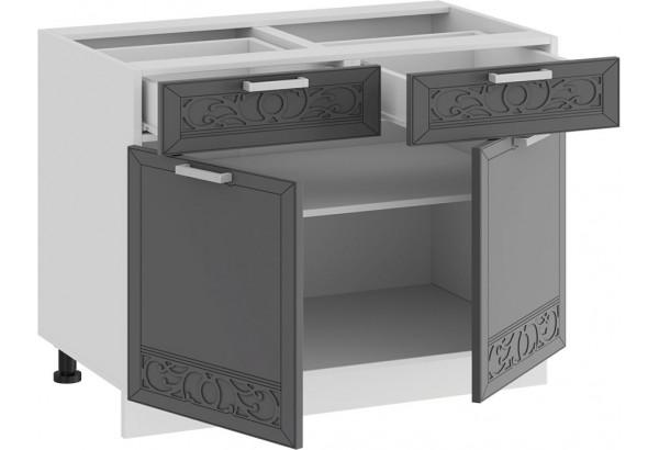 Шкаф напольный с двумя ящиками и двумя дверями «Долорес» (Белый/Титан) - фото 2