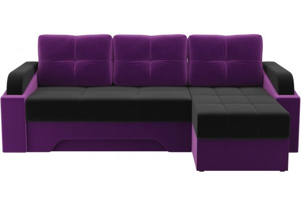 Угловой диван Панда черный/фиолетовый (Микровельвет) - фото 2