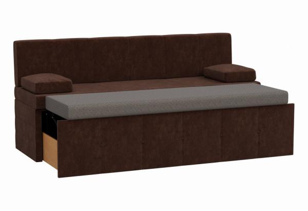 Кухонный прямой диван Лео Коричневый (Микровельвет) - фото 2