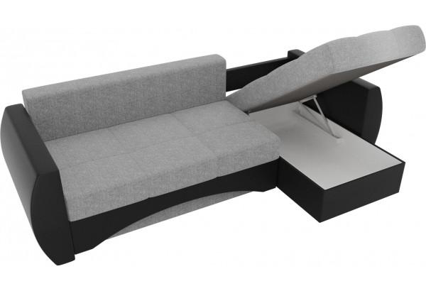 Угловой диван Сатурн Серый/черный (Рогожка/Экокожа) - фото 5