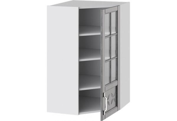 Шкаф навесной угловой c углом 45 со стеклом и декором (ПРОВАНС (Белый глянец/Санторини темный)) - фото 2