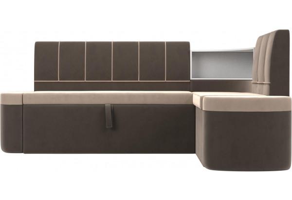Кухонный угловой диван Тефида бежевый/коричневый (Велюр) - фото 2