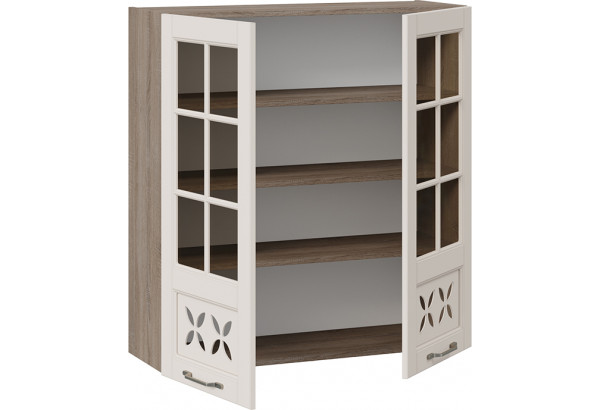 Шкаф навесной cо стеклом и декором (СКАЙ (Бежевый софт)) - фото 2