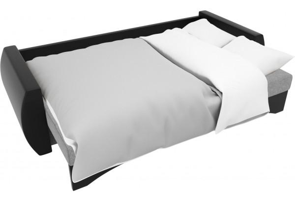 Прямой диван Сатурн Серый/черный (Рогожка/Экокожа) - фото 7