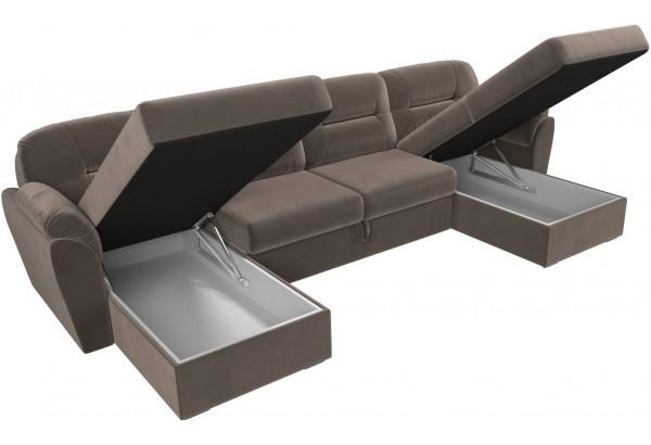 П-образный диван Бостон Коричневый (Велюр) - фото 6