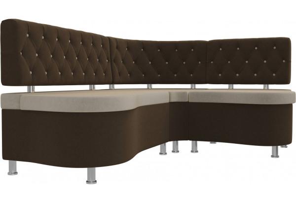 Кухонный угловой диван Вегас бежевый/коричневый (Микровельвет) - фото 3