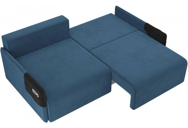 Прямой диван Армада голубой/черный (Велюр) - фото 6