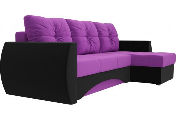 Угловой диван Сатурн Фиолетовый/Черный (Микровельвет) - фото 3