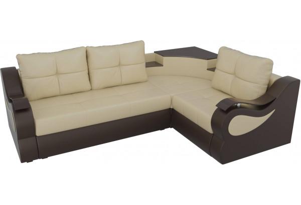 Угловой диван Митчелл бежевый/коричневый (Экокожа) - фото 4
