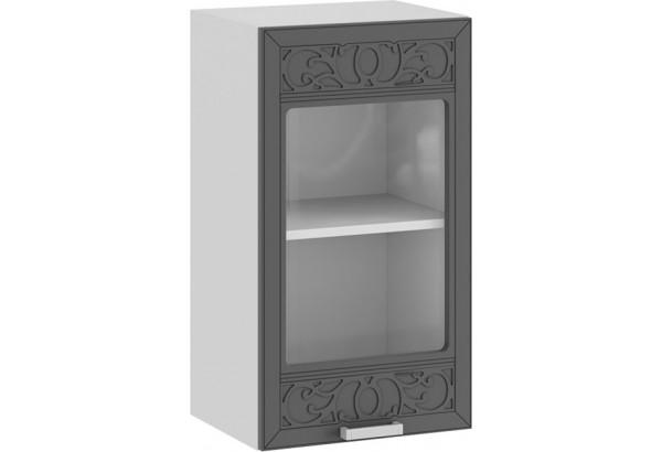 Шкаф навесной c одной дверью со стеклом «Долорес» (Белый/Титан) - фото 1