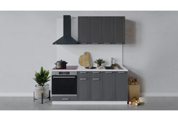 Кухонный гарнитур «Ольга» длиной 180 см со шкафом НБ (Белый/Графит) - фото 1
