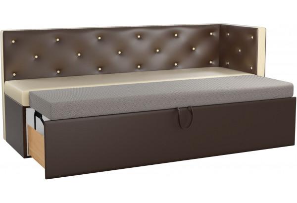 Кухонный диван Салвадор с углом бежевый/коричневый (Экокожа) - фото 2