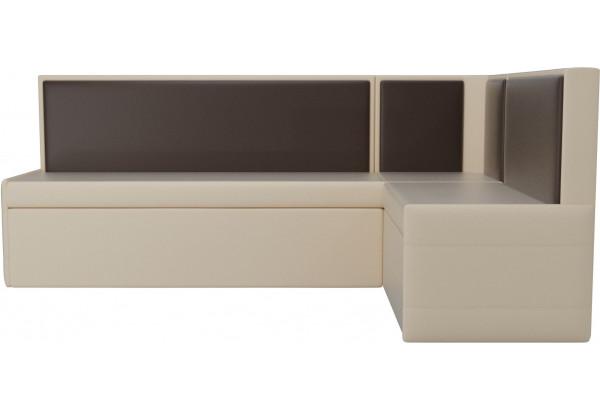 Кухонный угловой диван Кристина бежевый/коричневый (Экокожа) - фото 2