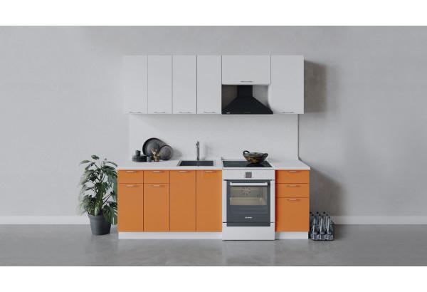 Кухонный гарнитур «Весна» длиной 220 см (Белый/Белый глянец/Оранж глянец) - фото 1