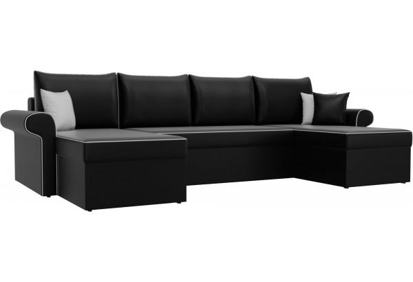 П-образный диван Милфорд Черный (Экокожа) - фото 1