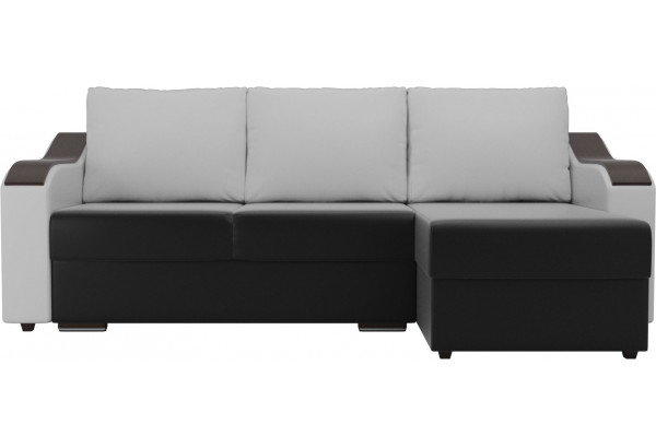 Угловой диван Монако Черный/Белый/Белый (Экокожа) - фото 2