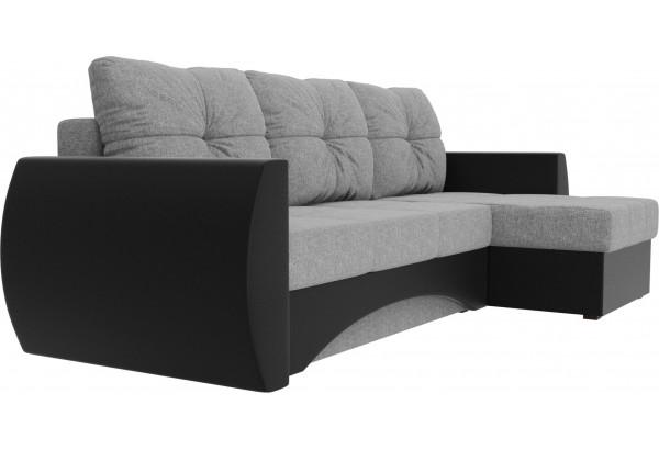 Угловой диван Сатурн Серый/черный (Рогожка/Экокожа) - фото 3
