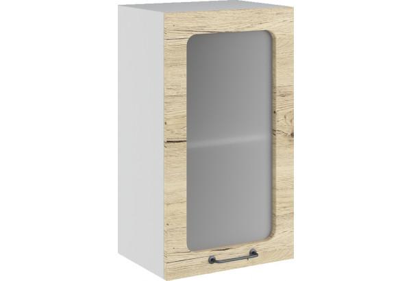 Лофт Навесной шкаф 400 мм, с дверцей и стеклом - фото 2