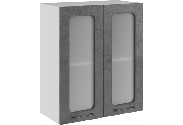 Лофт Навесной шкаф 600 мм, с дверцами и стеклом - фото 1